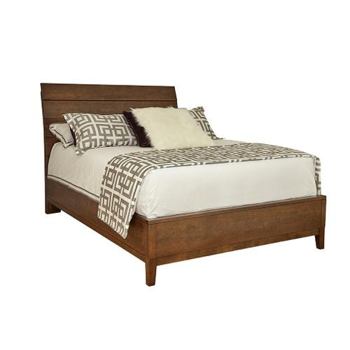 King Wood Plank Bed with Wooden Base