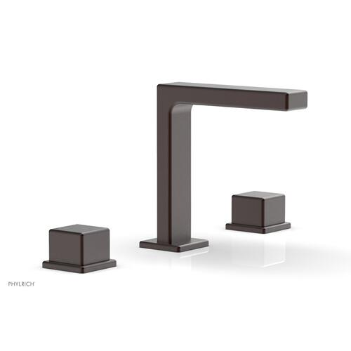 """MIX Widespread Faucet - Cube Handles 6-3/4"""" Height 290-04 - Weathered Copper"""