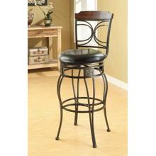 "ACME Tavio Bar Chair w/Swivel (Set-2) - 96047 - Espresso PU & Black w/Gold Brush - 29"" Seat Height"