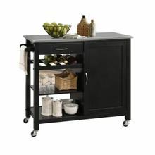 ACME Ottawa Kitchen Cart - 98317 - Stainless Steel & Black