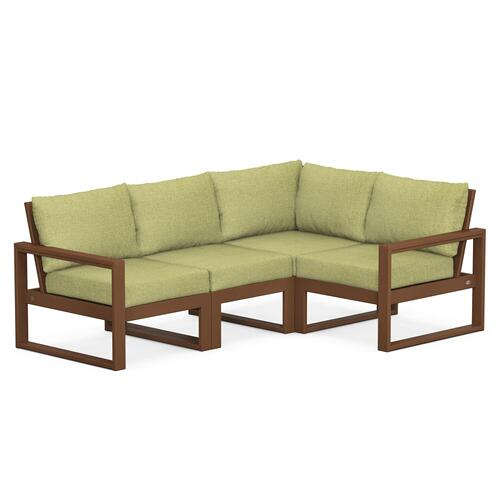 Polywood Furnishings - EDGE 4-Piece Modular Deep Seating Set in Teak / Chartreuse Boucle