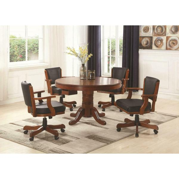 See Details - Mitchell Three-in-one Game Table and Four Arm Chairs