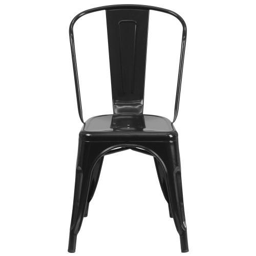 Black Metal Indoor-Outdoor Stackable Chair