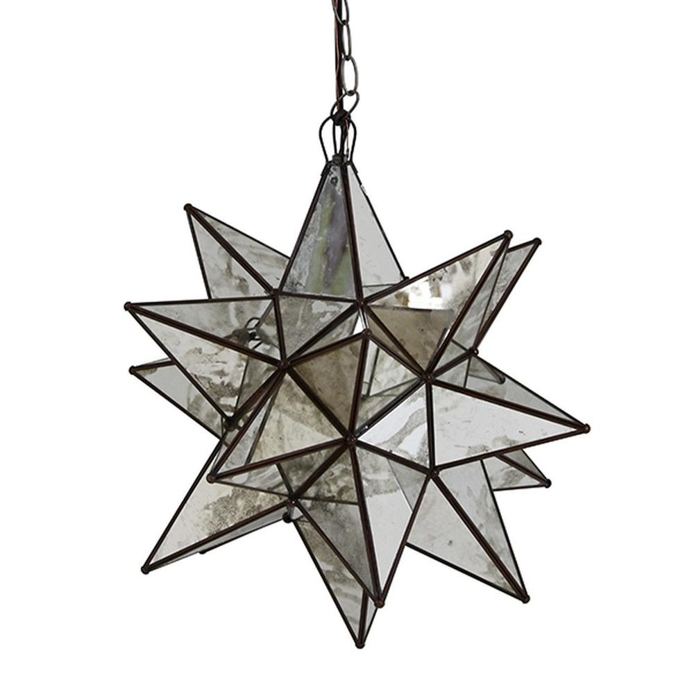 Whether You Install One or Group Several Together, Our Extra Large, Moravia Star Chandelier With Antique Mirrors Brings Beautiful Sparkle To Your Decor Throughout the Day and Night. Each Star Comes Standard With 3' of Antique Brass Chain and Canopy, Additional Chain Length Available for Purchase To Accommodate Your Custom Installation.