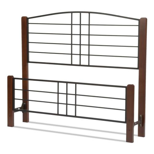 Fashion Bed Group - Dayton Metal Headboard and Footboard Bed Panels with Flat Wood Posts and Sloping Top Rail, Black Grain Finish, Queen