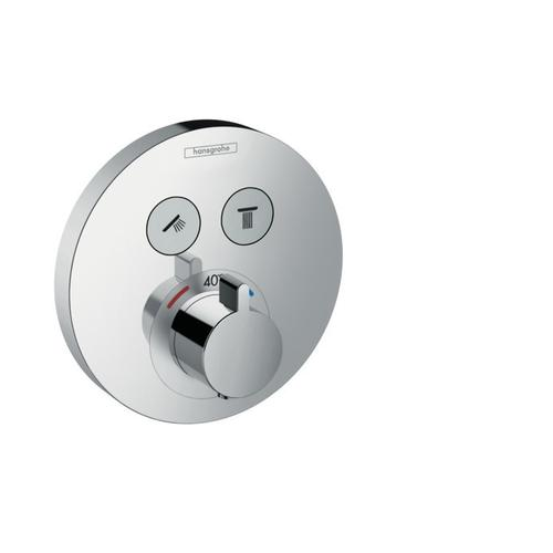 Chrome Thermostatic Trim for 2 Functions, Round