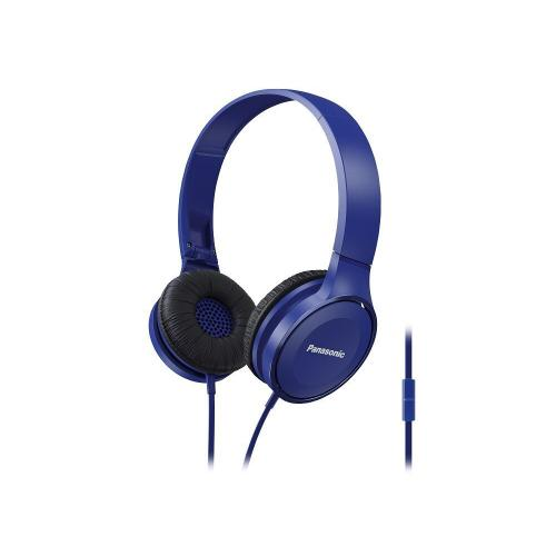Lightweight On-Ear Headphones with Mic + Controller - Blue- RP-HF100M-A