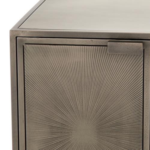 Antique Nickel Finish Sunburst Cabinet Nightstand
