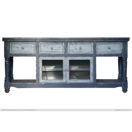 "70"" TV Stand in Dark Blue Finish, w/4 sky blue drawers & 2 sky blue doors"