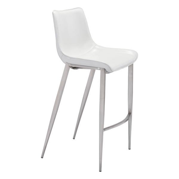 See Details - Magnus Bar Chair White & Silver
