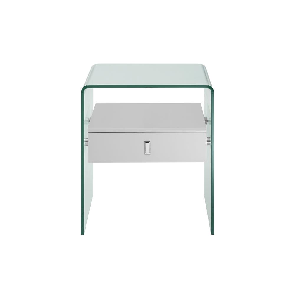 The Bari Nightstand In High Gloss White Lacquer With Glass