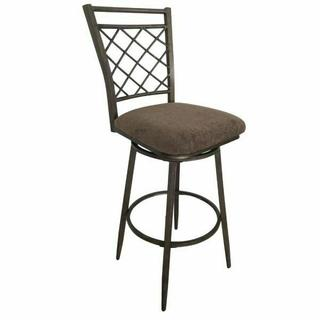 "ACME Aldric Bar Chair w/Swivel (Set-2) - 96032 - Fabric & Antique - 30"" Seat Height"