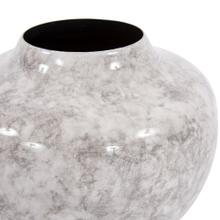 View Product - Round Gray Marbled Iron Pod Vase, Small