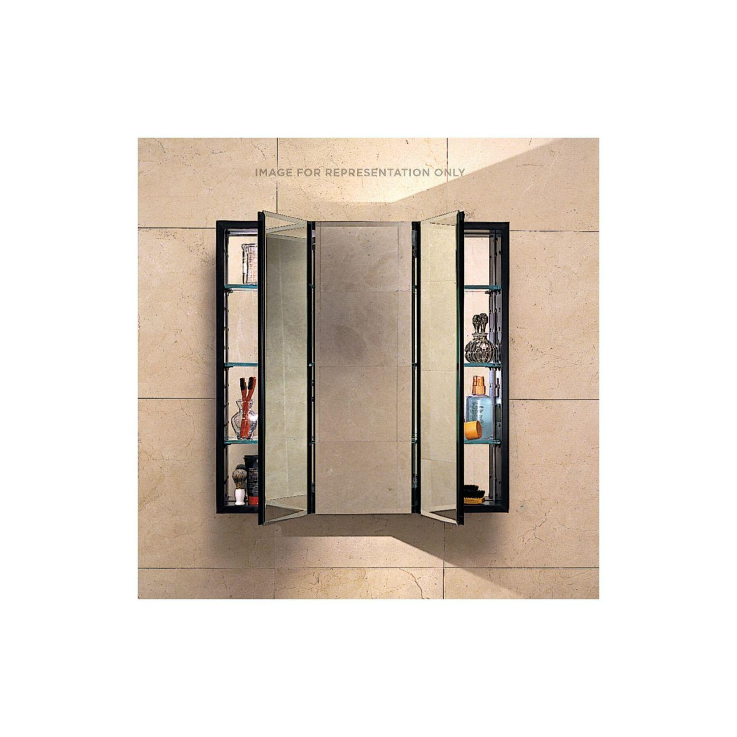 """Pl Series 36"""" X 30"""" X 4"""" Three Door Cabinet With Bevel Edge, Black Interior and Non-electric"""