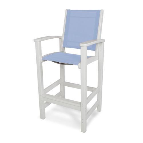 White & Poolside Coastal Bar Chair