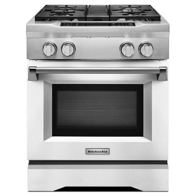 Kitchenaid 30'' 4-Burner Dual Fuel Freestanding Range, Commercial-Style Imperial White