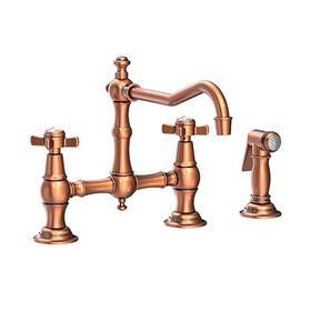 Antique Copper Kitchen Bridge Faucet with Side Spray