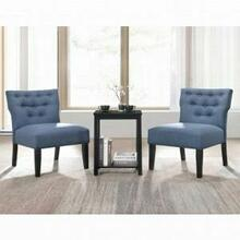 ACME Sophie 3Pc Pack Chair & Table - 59842 - Denim Blue Fabric & Black