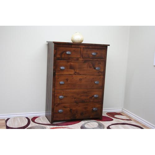 A-R451 Rustic Alder 6 Drawer Gentleman's Chest of Drawers