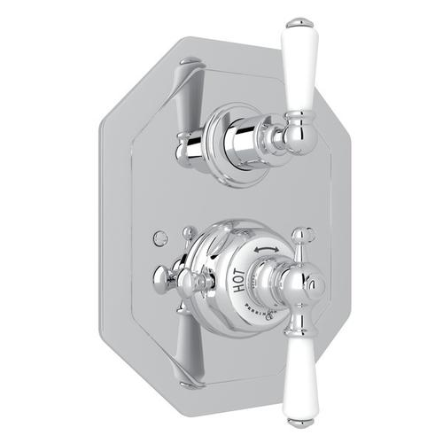 Polished Chrome Perrin & Rowe Edwardian Octagonal Concealed Thermostatic Trim With Volume Control with Edwardian Metal Lever
