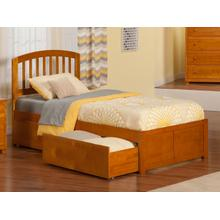 Richmond Twin Flat Panel Foot Board with 2 Urban Bed Drawers Caramel Latte