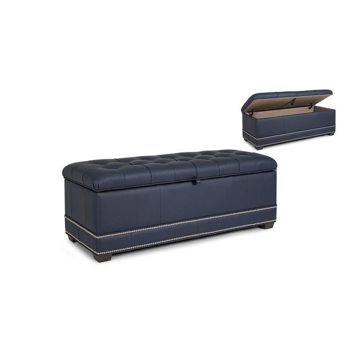 Leather Storage Ottoman w/ Tapered Leg