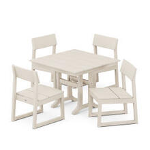 View Product - EDGE 5-Piece Farmhouse Trestle Side Chair Dining Set in Sand