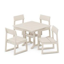 Polywood Furnishings - EDGE 5-Piece Farmhouse Trestle Side Chair Dining Set in Sand