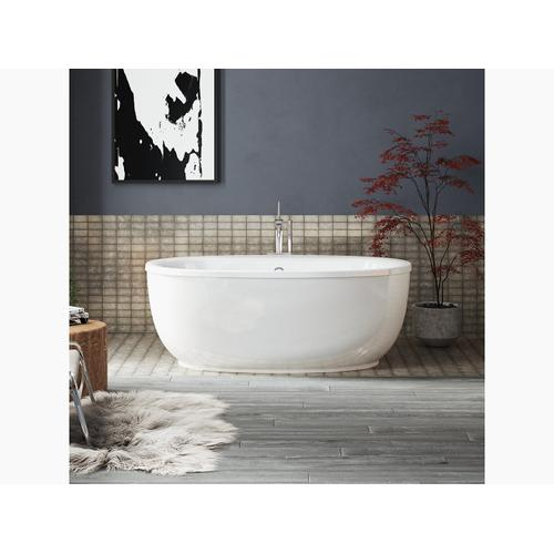 "Biscuit 66"" X 36"" Oval Freestanding Bath With Fluted Shroud and Center Drain"