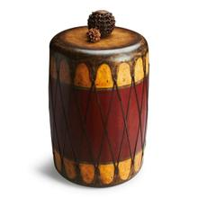 This authentic looking red and cream rustic drum table is made of select wood solids, wood products, resin components and is covered in leather. This fits in an early American theme, mancave or natural indigenous decor. This piece is handcrafted from t