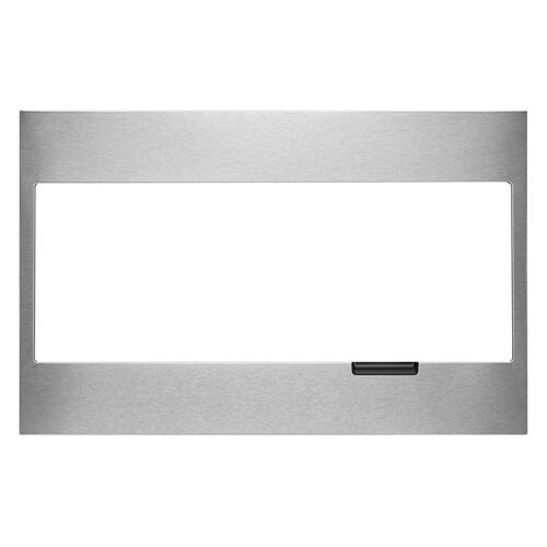 Built-In Low Profile Microwave Standard Trim Kit with Pocket Handle, Stainless Steel