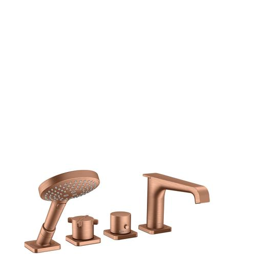 Brushed Red Gold 4-hole rim mounted thermostatic bath mixer