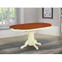 """Oval Table with 18"""" Butterfly leaf - Buttermilk and Cherry"""