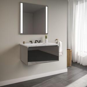 "Curated Cartesian 24"" X 15"" X 21"" Single Drawer Vanity In Tinted Gray Mirror Glass With Slow-close Plumbing Drawer and Engineered Stone 25"" Vanity Top In Silestone Lyra Product Image"