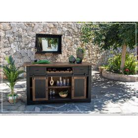 See Details - Wooden Bar Top & Base w/Iron footrest