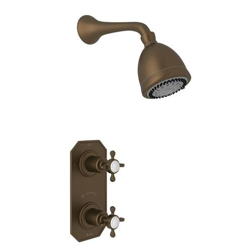 English Bronze Perrin & Rowe Edwardian Thermostatic Shower Package with Edwardian Cross Handle