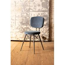 See Details - velvet dining chair with iron frame \ steel blue