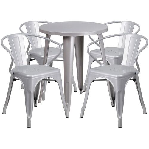24'' Round Silver Metal Indoor-Outdoor Table Set with 4 Arm Chairs