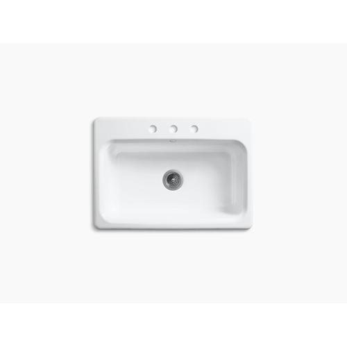 """Biscuit 31"""" X 22"""" X 8-5/8"""" Top-mount Single-bowl Kitchen Sink With 3 Faucet Holes"""