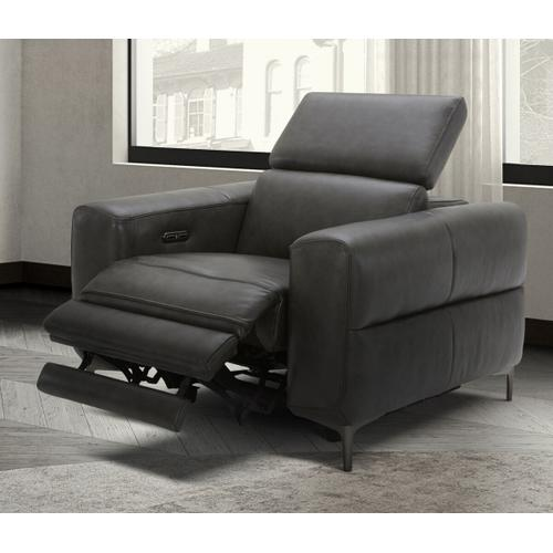 VIG Furniture - Divani Casa Meadow Dk Grey Leather Electric Recliner Chair with Electric Headrest