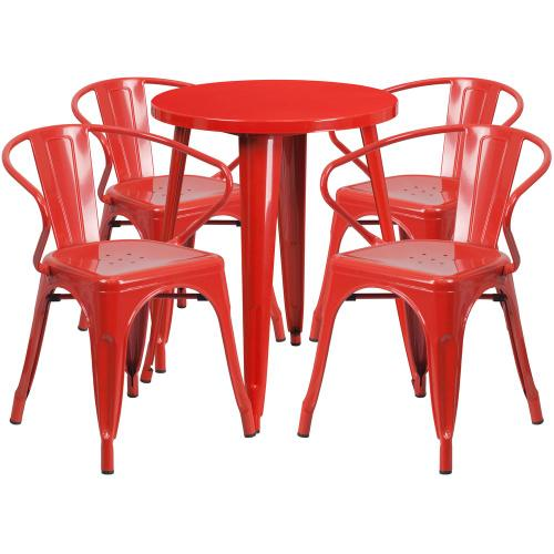 24'' Round Red Metal Indoor-Outdoor Table Set with 4 Arm Chairs