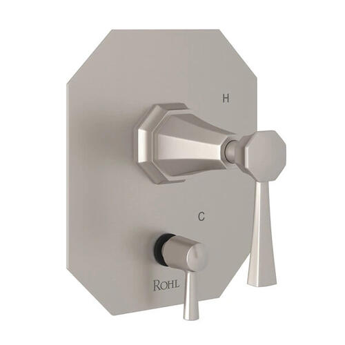 Deco Pressure Balance Trim with Diverter - Satin Nickel with Lever Handle