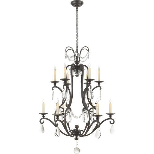 Visual Comfort - E. F. Chapman Orvieto 12 Light 34 inch Aged Iron Chandelier Ceiling Light