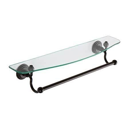 """Oil Rubbed Bronze - Hand Relieved 24"""" Shelf with Towel Bar"""