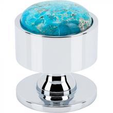 View Product - FireSky Mohave Turquoise Knob 1 3/8 Inch Polished Chrome Base Polished Chrome