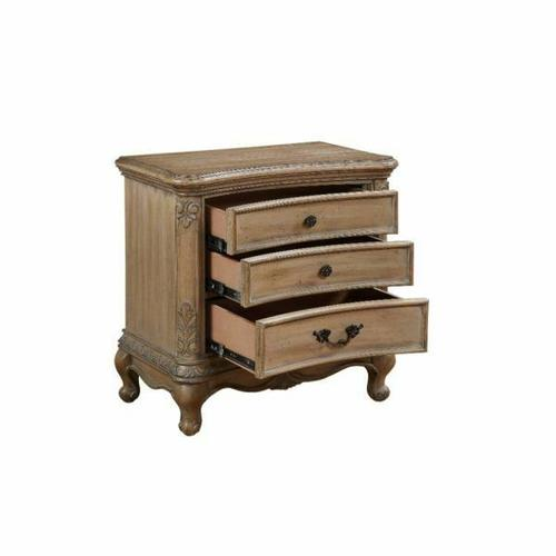 ACME Teagan Nightstand (Wood Top) - 22097 - Traditional - Wood (Poplar), Wood Veneer (Pine), Poly-Resin, MDF - Oak