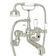 Edwardian Exposed Wall Mount Tub Filler with Handshower - Polished Nickel with Metal Lever Handle