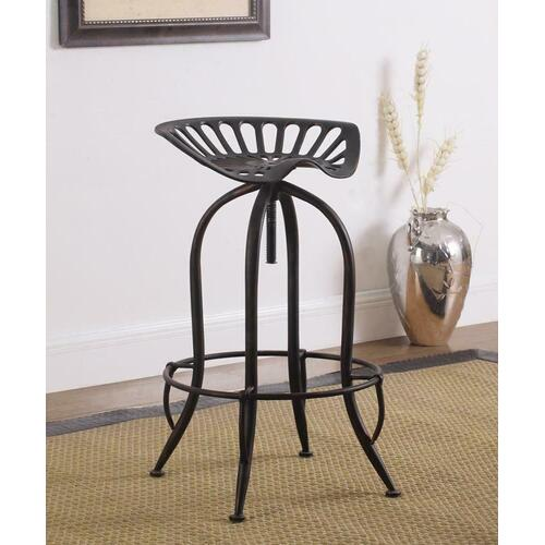 Traditional Antique Black Adjustable Bar Stool