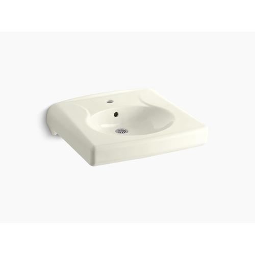 Biscuit Wall-mounted or Concealed Carrier Arm Mounted Commercial Bathroom Sink With Single Faucet Hole