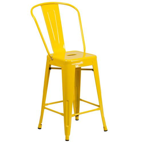 24'' High Yellow Metal Indoor-Outdoor Counter Height Stool with Back